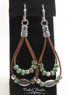 LEATHER DANGLE EARRINGS-Boho Leather Earrings-Beaded Leather