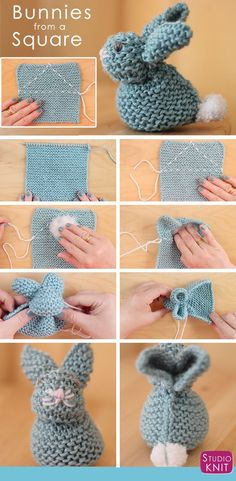 How to Knit a Bunny from a Square with Studio Knit. Knitted Softies for Springtime and Easter! How to Knit an Easter Bunny from a Square with free Knitting Pattern and Video Tutorial by Studio Knit. Easy Knitting, Knitting For Beginners, Knitting Patterns Free, Knit Patterns, Knitting Ideas, Knitting Squares, Kids Knitting, Knitting Needles, Crochet Rabbit Free Pattern