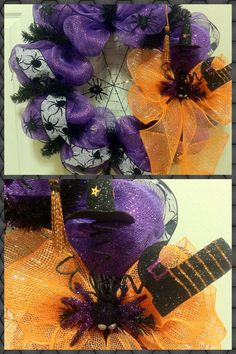 WITCHES BREW! purple deco mesh wreath with spider web, black glitter spiders, small broom, witch hat & boot in orange mesh bow with google-eyed spider