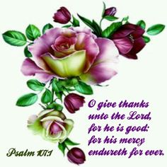 Psalm 107:1 kjv O give thanks unto the Lord , for he is good: for his mercy endureth for ever.