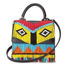 LES PETITS JOUEURS Alex Fringe Africa beaded leather bag ($838) ❤ liked on Polyvore featuring bags, handbags, shoulder bags, black, colorful handbags, leather handbags, multi colored leather handbags, real leather handbags and real leather purses