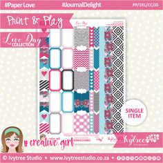 PP/191/CC/JD - Print&Play - CUTE CUTS - Journal Delight - Love Day Collection #PrintAndPlay #PlannerStickers #Scrapbooking #PaperCrafts #DigitalProducts