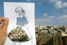 Fashion Illustrator Completes His Cut-Out Sketches With Street Scenes. Architect and fashion illustrator Shamekh cleverly completes his fashion sketches with patterns and scenery that he comes across on the streets. Dress Sketches, Fashion Sketches, Fashion Illustrations, Fashion Drawings, Illustration Fashion, Collage Illustrations, Silhouette Mode, Cut Out Art, Inspiration Art