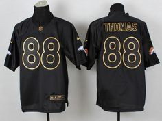Denver Broncos 88 Thomas Black 2014 PRO Gold lettering Jerseys