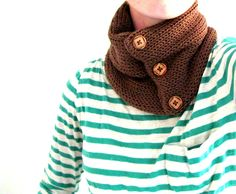 Knit Cowl Scarf - Brown with Wooden Buttons. $38.00, via Etsy.