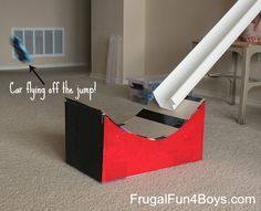 How to turn a cardboard box into a jump for Hot Wheels cars! Pretty Awesome!