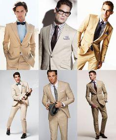 Mens Classic Khaki Suit Wedding Outfit Lookbook