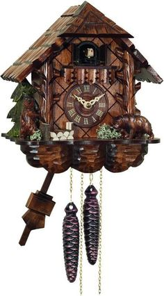 River City Clocks 28-10 One Day Cuckoo Clock Cottage with Hand-carved Bears