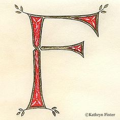 Letter F, Kathryn Finter Contemporary Manuscript Illumination
