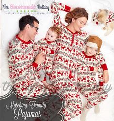 Family Christmas Pajamas red white and green reindeer