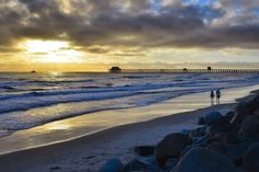 Couple Walks on the Beach at Sunset in Oceanside - August 8, 2013 by Rich Cruse on 500px