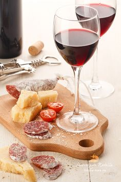 Red wine by Natalia Lisovskaya...with Parmigiano-Reggiano, Italian Salami, & Tomato - Great appetizer!