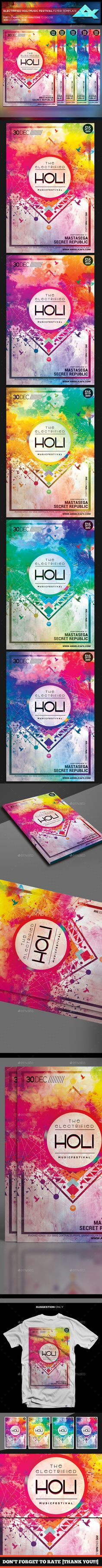 The Electrified Holi Music Festival Flyer Template PSD