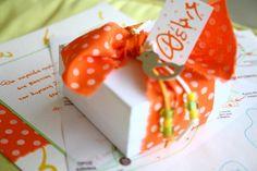 Joyful orange polka dots, hand lettered baptism invitation, map and matching favor Baptism Invitations, Christening, Your Child, Hand Lettering, Little Girls, Favors, Gift Wrapping, Joyful, Polka Dots