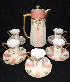 R. S. Germany Porcelain Chocolate Set, Chocolate Pot w/ 5 Cups & Saucers - Coral Pink & White w/ Gold Gilt & Small Pink Roses