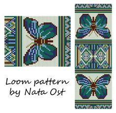 Beading Loom Pattern Bracelet Butterfly Seed Bead Cuff by NataOst
