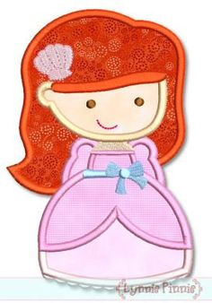 MERMAID PRINCESS Cutie Applique 4x4 5x7 6x10 svg  by LynniePinnie, $2.99