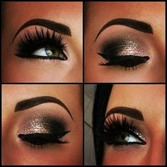 A SMOKEY EYE WITH GOLD IS SUCH A FIERCE MAKEUP LOOK! ADD FAKE LASHES TO SPICE IT UP!