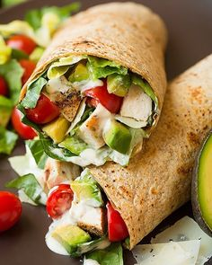 Chicken Avocado Caesar Salad Wrap Made by @cookingclassy . Follow her @cookingclassy Yield: 4 large servings  Ingredients  1 1/2…