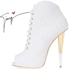 Giuseppe Zanotti Spring 2014 White Snake Embossed Leather Peep-Toe... via Polyvore featuring shoes, boots, ankle booties, white boots, leather peep toe bootie, peep toe bootie, peep toe ankle boots and white booties