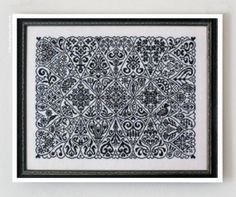 Cirque des Coeurs : counted cross stitch patterns Ink Circles geometric sampler monochromatic hearts embroidery