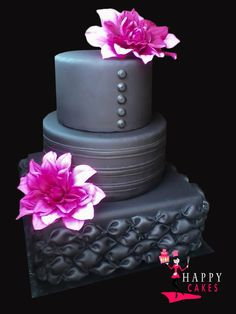 Deep Gray and Fuchsia Wedding Cake  ~ gorgeous and all edible!
