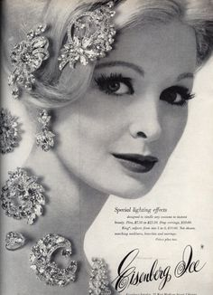 Eisenberg Ice jewelry advertisement, 1963. Vintage jewelry ad. inspiration brought to you by www.aussiebeader.com