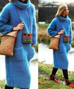KNITTING PATTERN - Fluffy Mohair Dress - Cowl Long Sweater Dress - Vintage Pattern - PDF Instant Download - Digital Pattern - Pocket Dress by GrandmaHadItGoinOn on Etsy https://www.etsy.com/listing/204852308/knitting-pattern-fluffy-mohair-dress
