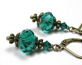 Teal Vintage Style Earrings, Czech Glass Rondelles, Teal Green, Swarovski Crystal, Womens Accessories, Antiqued Brass, Gifts for Women