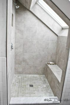Attic bathroom, shower with a bench. Turn your attic into a ridiculously amazing bathroom. Loft Bathroom, Upstairs Bathrooms, Small Bathroom, Bathroom Ideas, Industrial Bathroom, Brown Bathroom, Bathroom Organization, Minimal Bathroom, Bathroom Layout