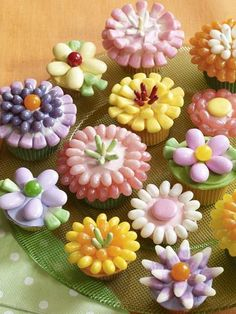 Jelly Bellies decorate cupcakes.  Spring!!