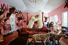 Pink living room in the Hunter Valley home of Australian artist Dale Frank