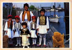 The children of Tarpon Springs, Florida in native Greek costume Greek Dress, Tarpon Springs, Nativity, Florida, Costumes, Children, Collection, Young Children, Boys