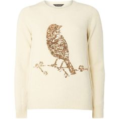 Dorothy Perkins Ivory Sequin Bird Jumper (€41) ❤ liked on Polyvore featuring tops, sweaters, white, winter white sweater, jumpers sweaters, sequin sweater, white sequin sweater and white jumper