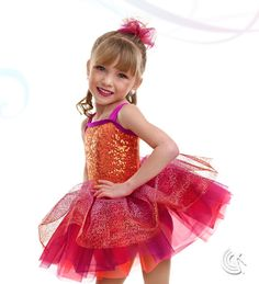 Curtain Call Costumes® - Bubble Gum Magenta nylon/spandex leotard with orange sequin poly/spandex bodice overlay, binding trim, and attached tricot tutu with metallic mesh top skirt. INCLUDES: metallic mesh and tricot barrette. Troupe price: $65 AUD - $70 AUD