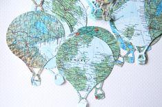 Vintage kaart hete lucht ballon Confetti en door thePathLessTraveled