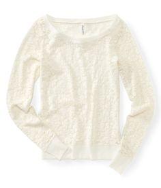 Flocked Lace Crew Sweatshirt  Christmas List! Pleaseeeeee