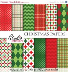 ON SALE Christmas Digital Paper Pack Backgrounds by StudioDesset, $1.80