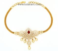 Buy 18K Gold Diamond Choker Necklace/Arm patti with Ruby,Onyx & Japanese Culture Pearls - DN213 with a list price of $5,619.99 - 22K Indian Gold Jewelry from Totaram Jewelers