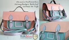 Multi color Honey Badger Satchels     Pink, blue and lilac