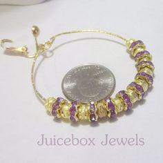 CLIP or Pierced 2 inch STARDUST Lavender/Gold Rhinestone Thin Hoop Earrings V420 #Handmade #Hoop