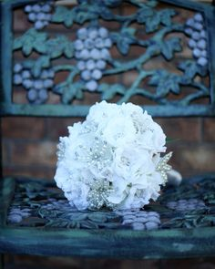 Alternative Broach Bouquet: Pearl Bead and Crocheted Flower on Etsy, $275.00
