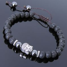 Lava Rock Hematite Tibetan Silver Adjustable Braided Bracelet Buddha Bead T224