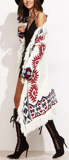 White Tribal Pattern Drop Shoulder Fringe Sweater Coat