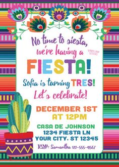 No time to siesta, its time to FIESTA! Do you know someone who is turning UNO?! DOS?! TRES?! (or any other age?!)  Set the tone for your childs birthday fiesta with this custom, Mexican fiesta theme invitation. This printable invitation is perfect for your childs Fiesta theme birthday party!  I will personalize this 5x7 or 4x6 digital invitation for you to print at home or at your favorite print center. All text is customizable, so this invite can be used for any Mexican Fiesta theme party…