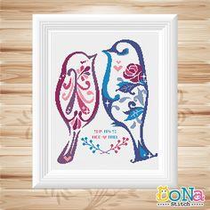Rose Birds - Love Birds Series - Cross Stitch Pattern - Wedding Sampler - Save the date                                                                                                                                                     More