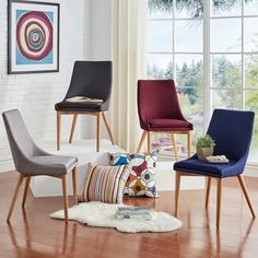 Nice shape to these dining room chairs. Sasha Oak Barrel Back Side Chair by MID-CENTURY LIVING