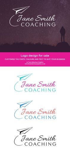 Paper Plane Coaching or Consulting logo design for sale by Fiona Robertson Graphics - www.fionarobertsongraphics.co.uk. Customise this ready-made logo with your business name, plus your choice of colours and fonts. Click through for more info.