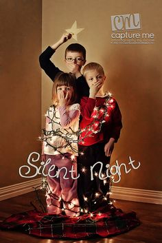 Wrap Scoot and Tonka in lights, let Scoot hold a star and skip the whole silent thing, cute Christmas card