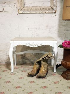 Painted Cottage Chic Shabby White French Vanity by paintedcottages, $75.00